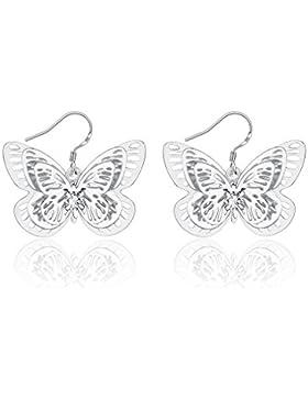 Ms. Swan®Versilberte kreative Schmetterlingsohrringe,Einschließlich VERPACKUNG