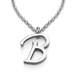 Idea Regalo - COOLSTEELANDBEYOND Nome Iniziale Lettera di Alfabeto B Ciondolo, Collana con Pendente Croce da Donna Uomo, Acciaio, 50cm Corda Catena