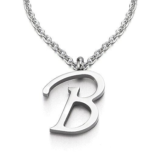 COOLSTEELANDBEYOND Name Initiale Alphabet Buchstaben B Anhänger Edelstah Halskette für Damen Herren Farbe Silber mit 50cm Stahl Seil-Kette