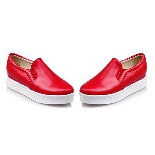 Voguezone009 Mujer Pull Punta Redonda Cerrada Dedo Medio Shimmer Tacón Pure Red Ballet Flats