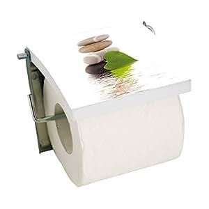 MSV 140837 Porte Rouleau Papier WC Lingga MDF/Inox 11,5 x 13 x 2 cm