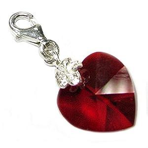Queenberry Clip-On-Charm zum Anstecken Sterling-Silber Swarovski-Kristall Rot, Herz, für europäische Charm-Armbänder Geburtsstein Juli Swarovski Elements