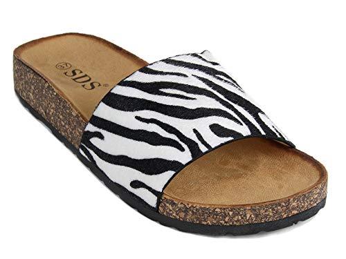 Frentree Damen Sommer Sandalen mit Metallschnalle Buckle | Bunte Pantoletten mit Zebra Leoparden Muster, Größe Normal:39, Farbe:Zebra -