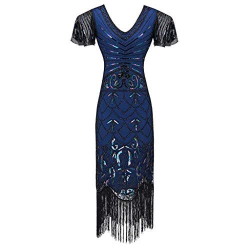 Kind Schwarz Pailletten Flapper Kostüm - Allegorly Damen Kleid Retro 1920s Stil