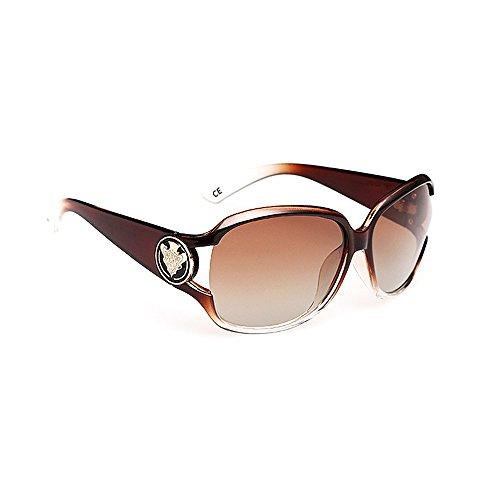 VeBrellen Damen Mode Polarisiert Oversize Sonnenbrille 100% UV-Schutz VS005 (Brown)