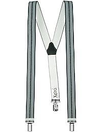 Hochwertige Hosenträger in Trendigen Grau - Grau Streifen Design