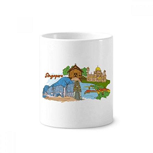 DIYthinker Sinapore Flavor Safari Museum Kathedrale Keramik Zahnbürste Stifthalter Tasse Weiß Cup 350ml Geschenk 9.6cm x 8.2cm hoch Durchmesser -