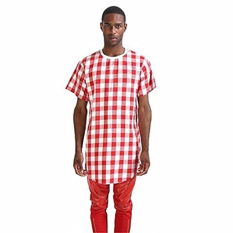Pizoff Homme T-shirt ultra long avec ourlet étoile similicuir P3119-----L