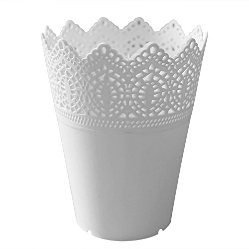 Laat Kunststoff Blumenvase Schreibtisch Aufbewahrungskorb Stifthalter Make-up-Pinsel Organizer Pflanze Vase Blumentopf Container Home Dekoration, plastik, weiß, 14*10*7CM