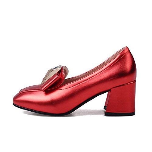 VogueZone009 Femme Tire Pu Cuir Carré à Talon Correct Chaussures Légeres Rouge