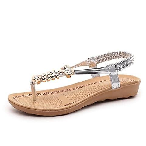OVERMAL Women Bohemia Beaded Sandals Clip Toe Herringbone Sandals Beach Flat Shoes (40, Argent)