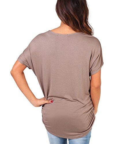 KRISP® Damen T-Shirt Oversize mit Tiger Aufdruck und goldener Applikation Mokka (2093)