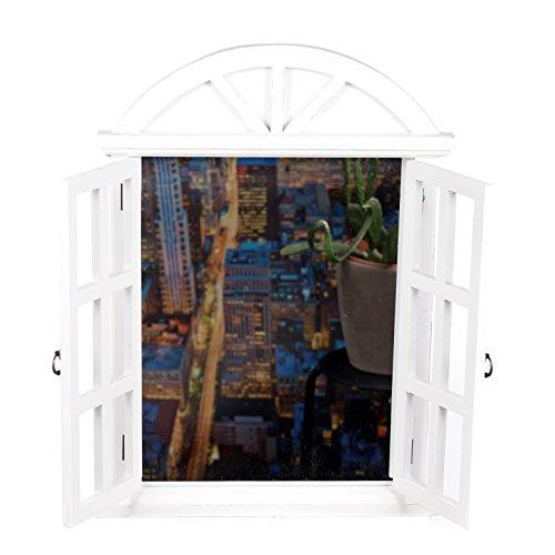 Riesiger Wandspiegel XXL BEW 124 Weiß, Fensterspiegel, Spiegelfenster mit Fensterläden 61 cm hoch, Shabby-Look, Vintage Look, Antikoptik, Holz, Maritim, Deko, Hochwertig