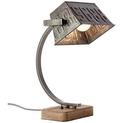 Tischleuchte Metall/ Holz, Schwarz