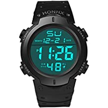 FAMILIZO Hombres Moda CronóMetro Fecha Goma Reloj De Pulsera De Deporte Impermeable LCD Digital (Negro)