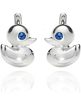 butterfly Mädchen Silber-Ohrringe echt Silber blau Swarovski Elements original Ente Geschenkverpackung, Geschenk...