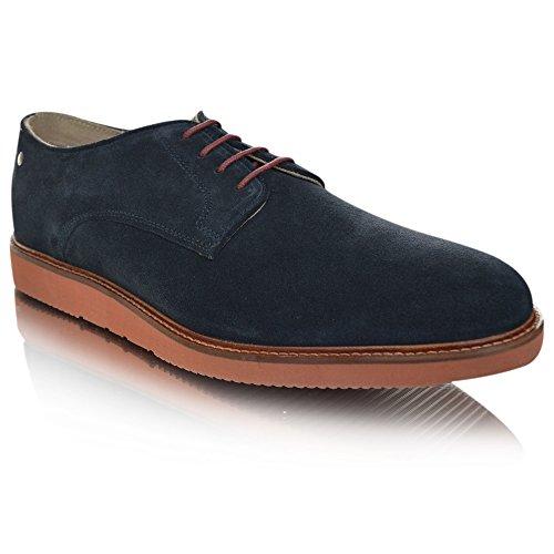 BASE LONDON GARRICK QH02123 scarpe uomo derby liscio camoscio Blue