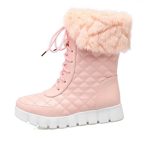 VogueZone009 Damen Niedriger Absatz Rein Rund Zehe Weiches Material Schnüren Stiefel Pink