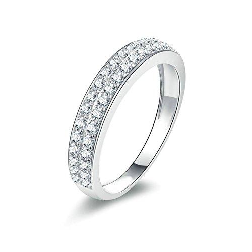 Bishilin 925 Sterling Silber Ring Solitär Rund Brillant Weiß Zirkonia Verlobung Ringe Ehering...