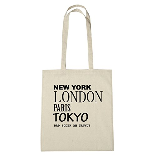JOllify Bad SODEN AM TAUNUS di cotone felpato B1530 schwarz: New York, London, Paris, Tokyo natur: New York, London, Paris, Tokyo