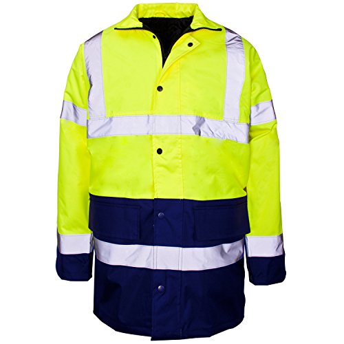 MYSHOESTORE® Hi Vis Viz alta visibilidad Parka chaqueta Ropa de trabajo de seguridad Seguridad Oculta...