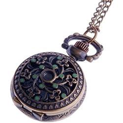 Ladies Pendant Necklace Pocket Watch Quartz Small Face with Chain Antique Reproduction Design Green Enamel Flower Pattern PW-61