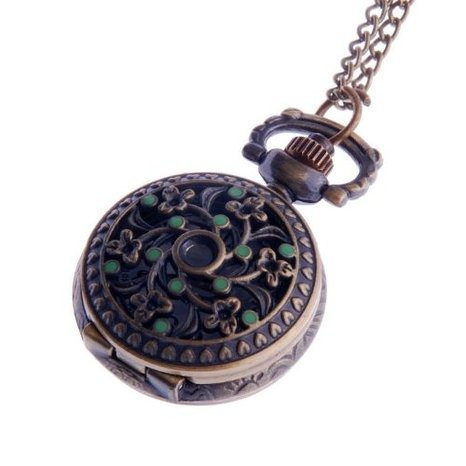 ladies-pendant-necklace-pocket-watch-quartz-small-face-with-chain-antique-reproduction-design-green-