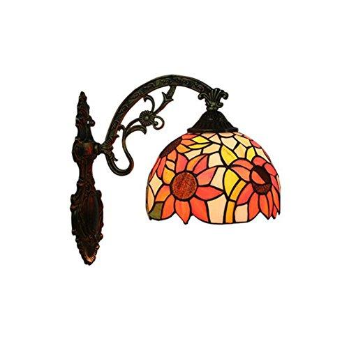 Europäischen Retro Tiffany Stil Wandleuchte Handmade Glasmalerei Wandleuchte Korridor Lichter Schlafzimmer Wohnzimmer Nacht Dekoration Lampe E27 (Design : EIN) Land-charme-kerze