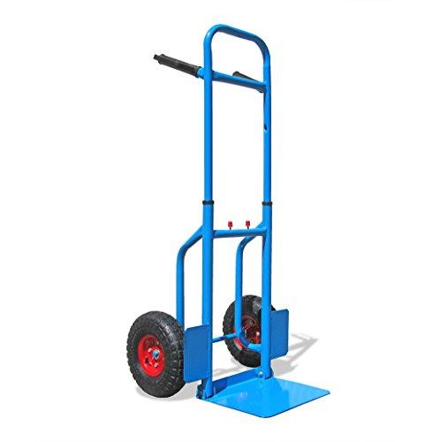 JOM Profi-Sackkarre Stapelkarre, ausziehbar und mit klappbarer Schaufel bis 150kg Tragkraft, 113 x 49,5 x 53 cm, blau
