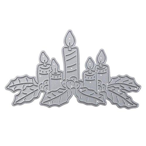 vanpower 1 Stück Weihnachtskerzen Metall Stanzformen Schablonen für DIY Papier Karte Geschenk Scrapbooking Fotoalbum