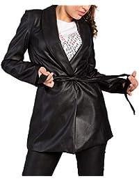 MForshop Giacca Lunga Donna Cappottino Cappotto Trench Eco Pelle Cintura  Nero Moda M11008 12f97f26d2a