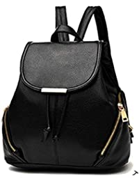 New Women Leather Backpacks Students School bags for Girls Teenagers Travel Rucksack Black Color Small Shoulder Bag