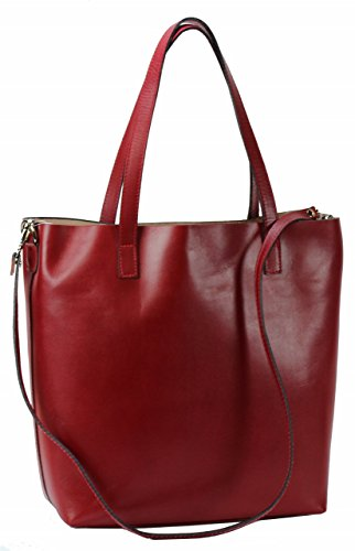 BOZANA Berlin XXL Luxus Shopper ECHT LEDER Tasche Damentasche Ledertasche Rot IT Leather (Prada Leder Rot)