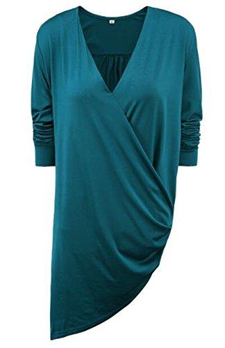Tayaho T-shirt Femme Chemise Manches Longue Col V Tunique Sexy Baggy T-Shirt Couleur Unie ElÉGant Tops Irrégulière Basique Blouse Loose Classique Haut Casual green