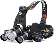 High Power LED Headlamp Boruit 5000LM XM-L2 2XPE Rechargeable LED Headlamp Headlight Flashlight with 2x Protec