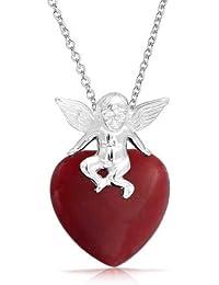 Bling Jewelry Plata Esterlina Cupido Piedra Jade Rojo Corazón Colgante Collar
