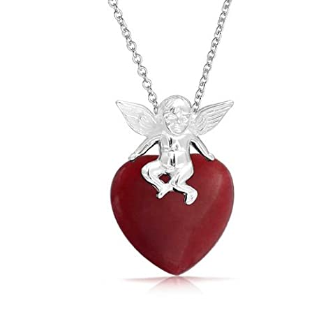 925 Sterling Silver Cupid Dyed Red Jade Heart Pendant Necklace