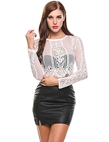 Meaneor Women's Fashion Slim Fit Lace Long Sleeve Sexy Sheer Blouse Mesh Lace Crop Top Shirt