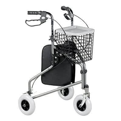 Homecraft Folding Three Wheeled Rollator, Tri Walker with Lockable Cable Brakes, Carry Bag, Basket and Tray, Walking Mobility Aid, Lightweight Foldable Steel Frame, Thick Tyres,