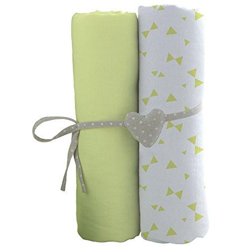 Babycalin lot de 2 Draps Housse 60 x 120 cm (Blanc et vert)