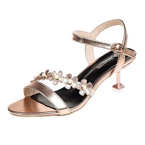 B-commerce Frauen Schnalle Schuhe - Damenmode Solide Floral DüNne Verfolgte BeiläUfige Sandalen HöHlen Heraus Runde Zehe Elegante GeschäFts Hochzeitsfest ()
