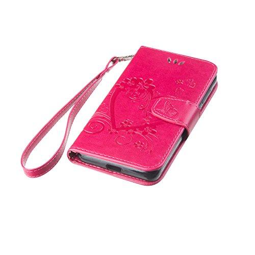 Coque Etui Housse Luxe Stand et Portefeuille Huawei Honor 6, Cozy Hut® Fleurs En Forme De Coeur Motif Design pour Huawei Honor 6,imprimé étui en cuir PU Cuir Flip Magnétique Portefeuille Etui Housse d Rose Rouge