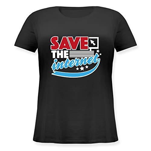 Statement Shirts - Save The Internet - S (44) - Schwarz - JHK601 - Lockeres Damen-Shirt in großen Größen mit Rundhalsausschnitt