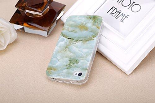 iPhone 4 Coque,iPhone 4s Case - Felfy Ultra Mince Slim Flexible Souple Soft Gel TPU Silicone Case Cover Coque Housse Changement Graduel Coloré Bling Glitter Shiny étoile Protection TPU Anti Scratch de Marbre Vert