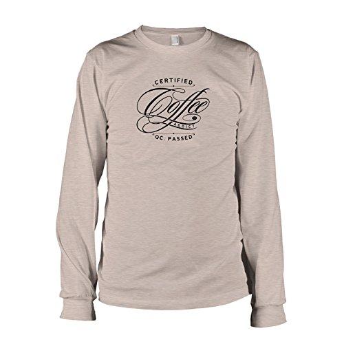 TEXLAB - Certified Coffee Addict - Langarm T-Shirt Graumeliert