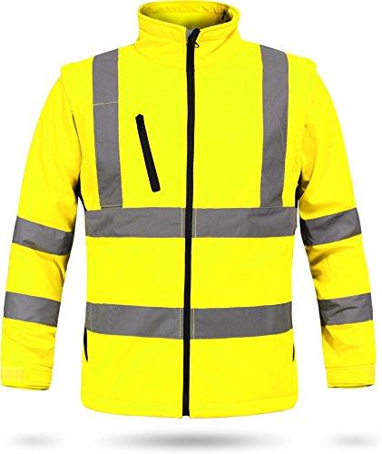 2-in-1 Softshell Warnschutzjacke Arbeitsjacke nach EN 20471 [S-4XL] Farbe Neongelb/Marine Größe XL