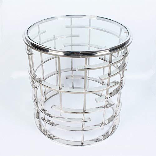 FJTHY Moderne Luxus Edelstahl Runde Glas Sofa Tisch Hotel Heim Wohnzimmer,Silber,Abschnitt a - Glas-modernen-sofa-tisch