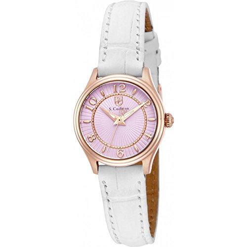 S Coifman SC0342 Ladies White Leather Strap Watch