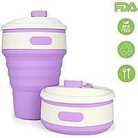 Taza de agua a prueba de fugas plegable de silicona de grado alimenticio libre de BPA para acampar al aire libre y Picnic rosa
