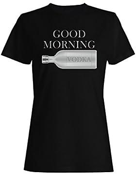 Buena mañana vodka novedad divertida camiseta de las mujeres ii13f